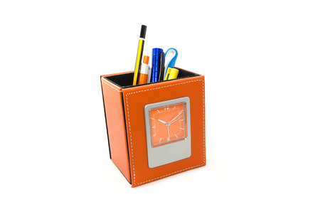 pen holder: orange stationery compartment with clock on white background