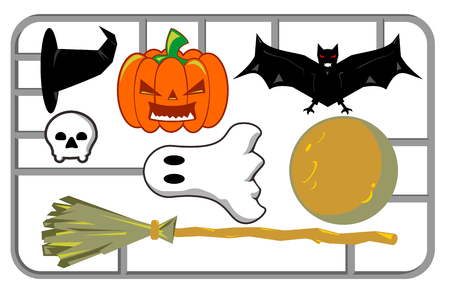 A Halloween decoration card on white background.