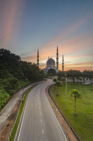 Beautiful sunrise at Sultan Abdul Aziz Shah mosque
