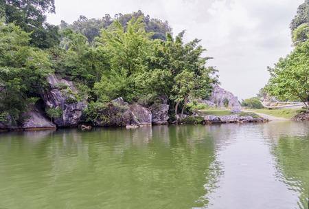 lang: View of reflection of Gunung Lang lake, Ipoh Stock Photo
