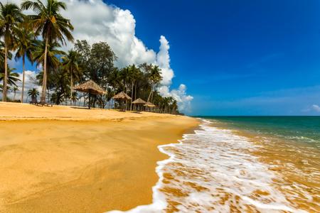 terengganu: Beautiful view of coconut trees and blue sky of tropical Penarik beach Terengganu, Malaysia