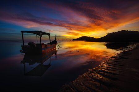 Panoramic view of sunset at Permatang Damar Laut beach, Penang
