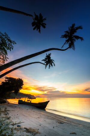 Ray of golden light between coconut trees framing in Gertak Sanggul, Pulau Pinang beach during sunrise Stock Photo