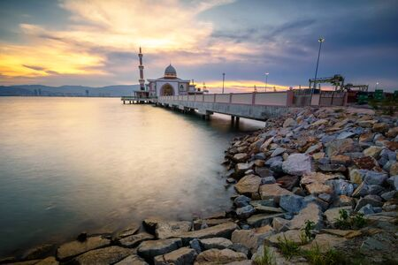 Penang Port mosque during golden sunset. Located in Prai, Penang Malaysia