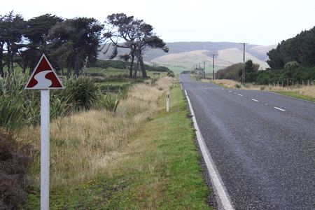 The Southern Scenic Route is clearly marked by this symbol marker which is erected along the road New Zealand South Island.