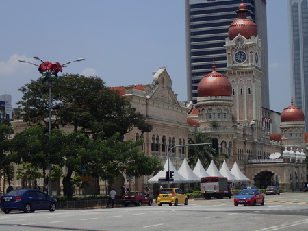The iconic Moorish style architecture of Bangunan Sultan Abdul Samad which was build in 1894 at the busy street of Jalan Raja in Kuala Lumpur.
