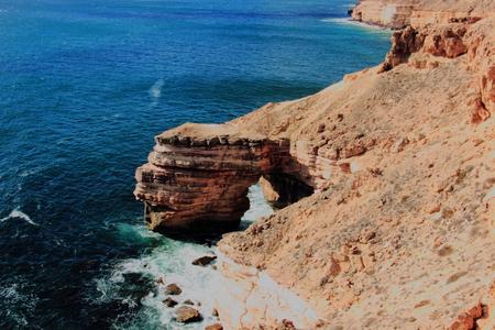 The precarious coastal rock formation called Natural Bridge at Kalbarri National Park, Australia
