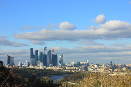 The view of Moscow from Vorobyev Hill with the skyscrapers of International Business Centre dominates the citys skyline.