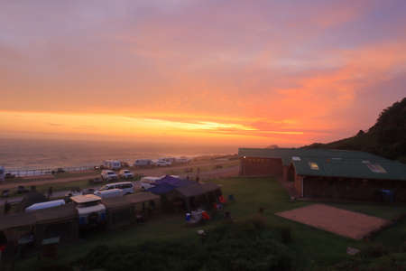 Sunset view at camping area of Storm River Rest Camp  in Tsitsikamma National Park on Garden Route, Sotuh Africa. Stok Fotoğraf