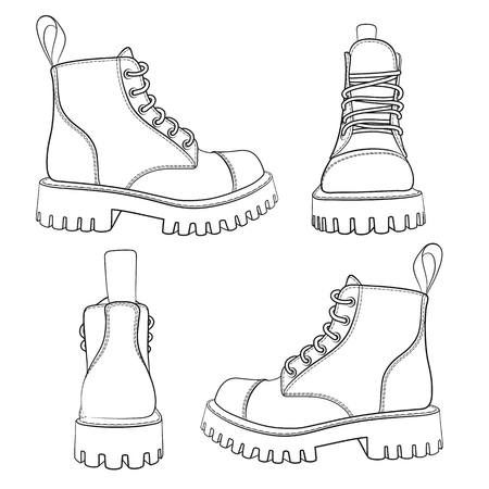 Vector set of drawings with boots. Isolated objects on a white background.