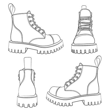 Vector set van tekeningen met laarzen. Geïsoleerde objecten op een witte achtergrond. Vector Illustratie