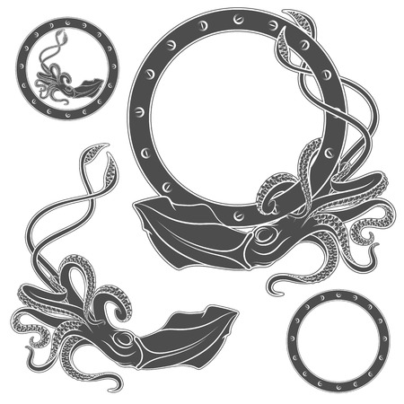 Set of black and white illustrations with squid on a white background