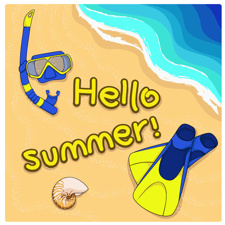 Summer background with shell, flippers and mask on sand. Vector.