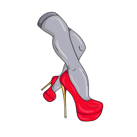 heelpiece: Sexy female legs in red shoes.