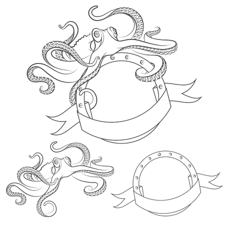 rivet: Set of vector images with octopus. Isolated objects on a white background.