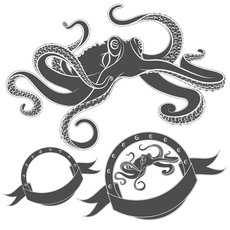 black octopus: Set of vector images with octopus. Isolated objects on a white background.