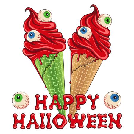 Bloody Halloween ice cream with eyes Vector Illustration