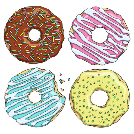 strew: Set of cartoon colorful tasty donuts on the white background. Vector Illustration.