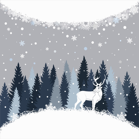 Vector sfondo con foresta invernale, neve e cervi.