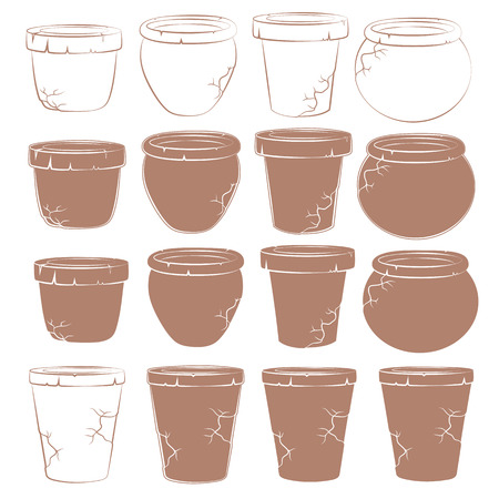 ollas de barro: Vector set of old clay pots for flowers. Isolated objects