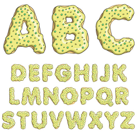 donut style: Alphabet cartoon letters font sweet donut style with candy