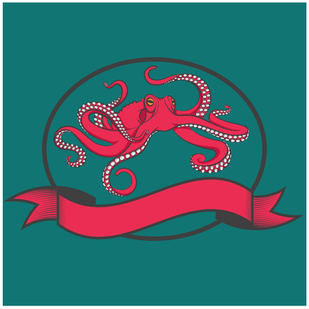 vector images: Color vector images of red octopus.