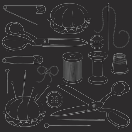 sewing supplies: Illustration of set sewing supplies. Vector Illustration
