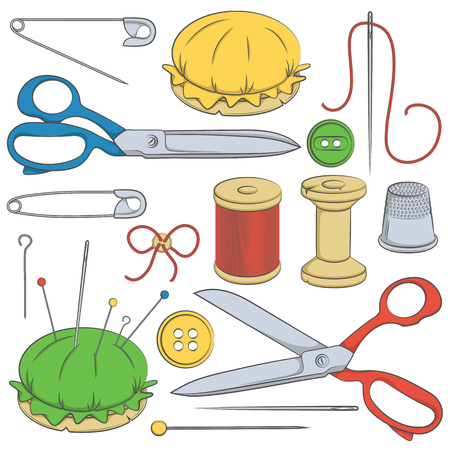 sewing supplies: Solor set of sewing supplies. Vector