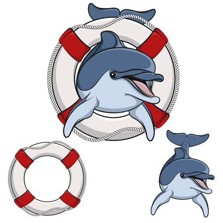 Colored illustration of a dolphin and a life buoy.