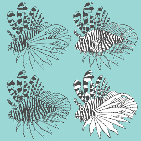 set of illustrations with lion fish. Isolated objects.