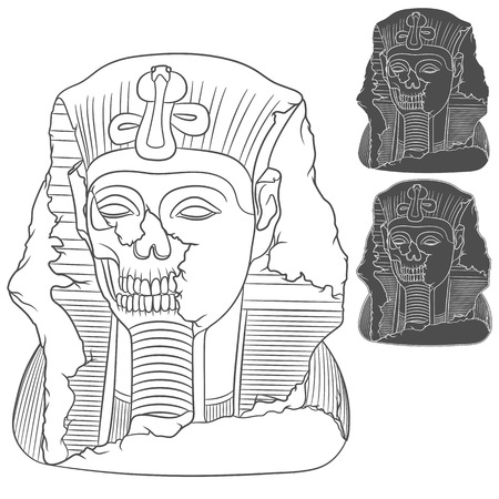 decrepit: Ancient pharaoh statue of a skull. Set of isolated objects on white background. Illustration
