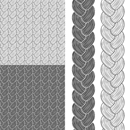 pigtails: set of seamless patterns with pigtails.