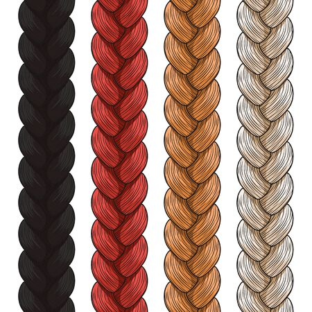 pigtails: Set of colored pigtails. Seamless patterns.