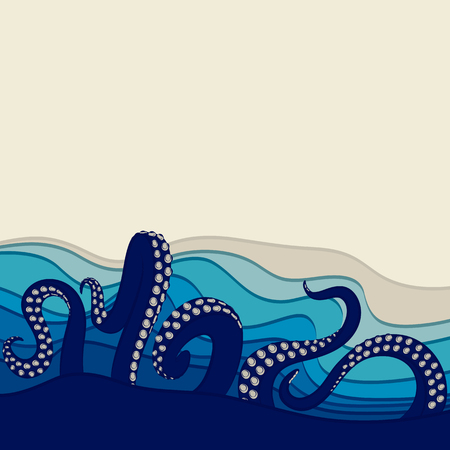 tentacles: Underwater background with octopus tentacles. Vector illustration with space for text. Illustration