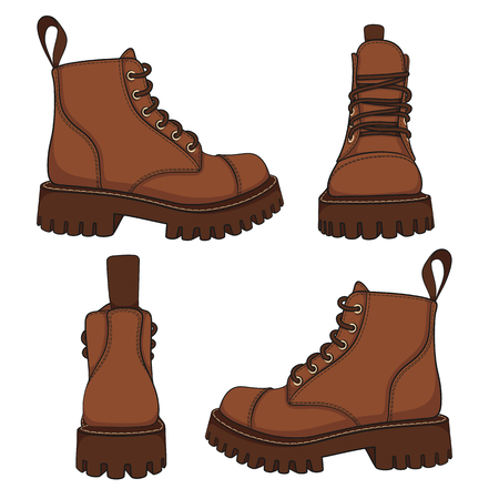 Vector set of drawings with brown boots. Isolated objects on a white background.