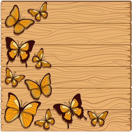 studs: Vector background with planks, butterflies studs. Illustration