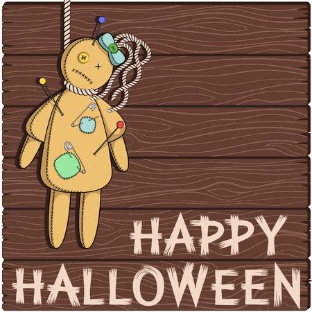 voodoo: Happy Halloween. Card with a voodoo doll. Illustration