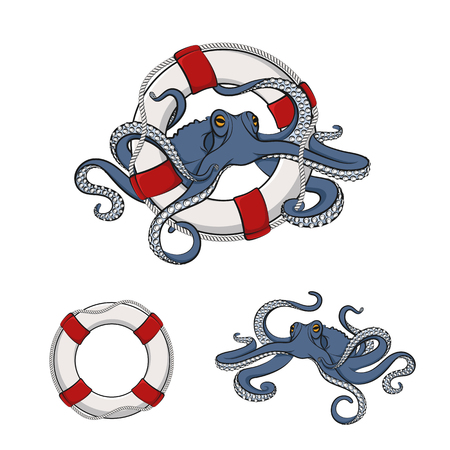 Set of color images of octopus in the lifeline. Isolated objects on white.