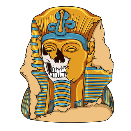 Ancient pharaoh statue of a skull. Color vector illustration on a white backdrop.