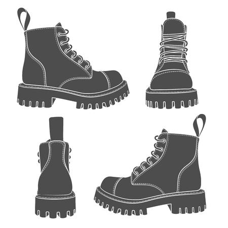 insieme di disegni con stivali. Oggetti isolati su un bianco.
