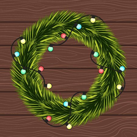 Wreath of Christmas tree branches with a garland on the background of boards. Illustration