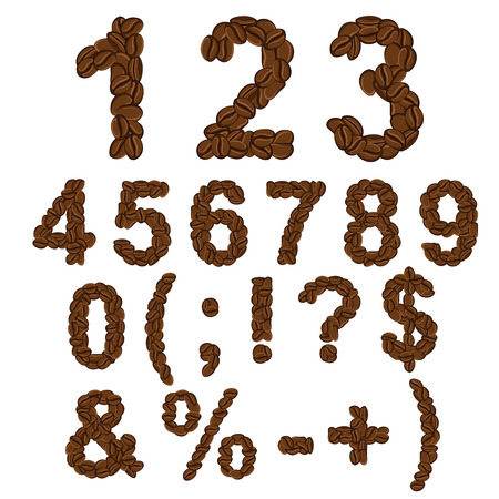 Numbers and symbols of coffee. Isolated vector objects on white. Illustration