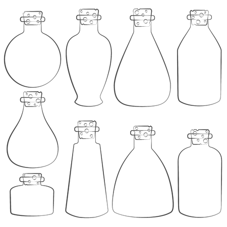 vials: Vector set with the image of the vials, tubes. Isolated objects on a white background.