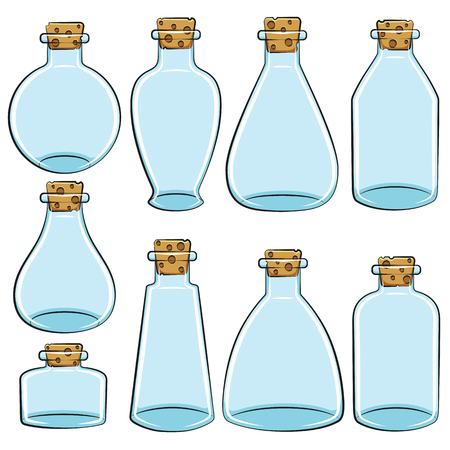 vials: Set of color cans, vials, bottles. Isolated vector objects on white background.