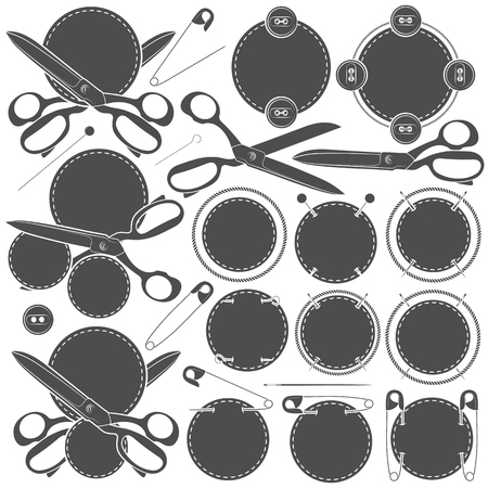 umbilical: Set of vector signs with sewing accessories. Isolated objects on a white background.