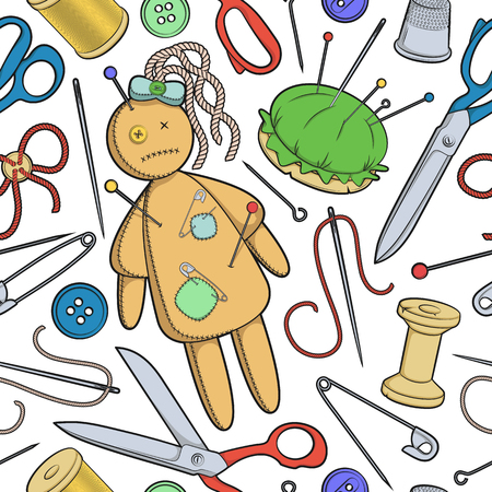 rag doll: Vector seamless pattern with sewing utensils and a rag doll