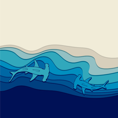 hammerhead shark: Vector underwater background with sharks-hammers Illustration