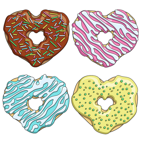 Set of colorful tasty donuts in the form of a heart. Isolated vector objects on white background.