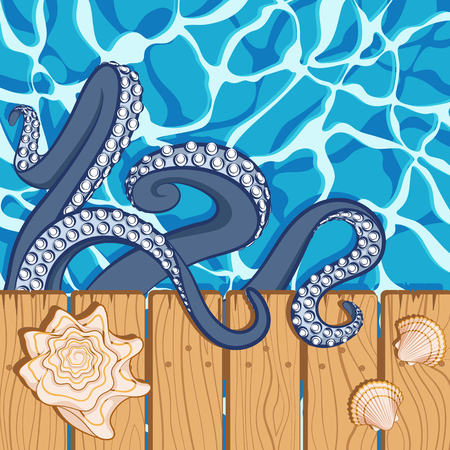 Marine summer background with water, shells and tentacles of an octopus. Vector illustration. Illustration