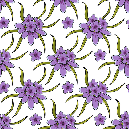 Seamless vector pattern with lavender flowers. Illustration